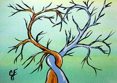 """""""Loves Embrace"""" Original Painting  Artist Trading Card Julie Ellison Art"""