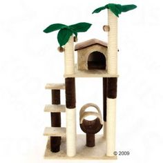 Coco Palm Cat Tree Five Sisal Levels Plush Scratch Post Play Tunnel Cuddle House