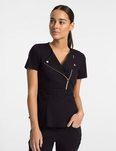 The Moto Top in Black is a contemporary addition to women's medical scrub outfits. Shop Jaanuu for scrubs, lab coats and other medical apparel. Scrubs Outfit, Scrubs Uniform, Dental Uniforms, Scrub Shoes, Stylish Scrubs, Cute Scrubs, Lab Coats, Nurse Costume, Uniform Design