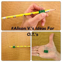 Use a binder clip on a standard pencil for a quick, low-cost pencil grip! A large binder clip works well on primary pencils/crayons.'s Ideas For O.'s Kiddo didn't like the feel in hand UGH Preschool Writing, Preschool Learning, Preschool Activities, Teaching, Motor Skills Activities, Gross Motor Skills, Therapy Activities, Pre Writing, Writing Skills