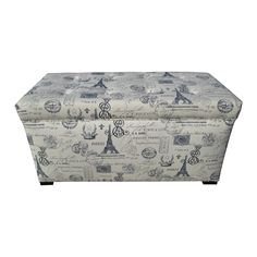 Features: -Paris match pattern. -Fire retardant foam. -Wipe clean. -Pavot Collection. -Made in the USA. Bench Type: -Bedroom bench. Seat Material: -Fabric. Style: -Traditional/French. Dimensio