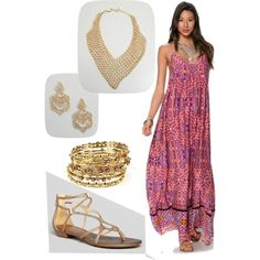 """Watercolor maxi dress..."" by rkimball on Polyvore"