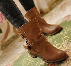 Brown Boots Women spring and autumn martin boots flat vintage buckle motorcycle boots - Winter snow boots - Womensshoes Buckle Boots, Leather Buckle, Leather Boots, Belt Buckle, Women's Shoes, Skull Shoes, Shoes Style, Dance Shoes, Superstar