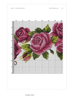 This Pin was discovered by Mar Cross Stitch Rose, Cross Stitch Flowers, Cross Stitch Patterns, Embroidery Stitches, Hand Embroidery, Small Rose, Purple Roses, Flower Basket, Baby Blanket Crochet