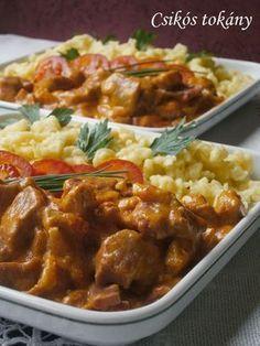 Csikós tokány -  Hozzávalók:      2-3 evőkanál olaj     20-25 dkg húsos füstölt szalonna (kolozsvári)     2 nagy vöröshagyma     1 kg sertéslapocka     őrölt pirospaprika, só     2 zöldpaprika     2 paradicsom     2 dl tejszín     1 dl tejföl     1 evőkanál liszt Indian Food Recipes, Real Food Recipes, Cooking Recipes, Healthy Recipes, Delicious Dinner Recipes, Yummy Food, Hungarian Recipes, Good Foods To Eat, Pork Dishes