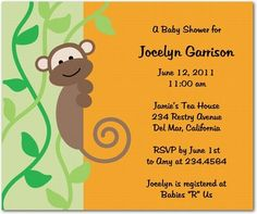 Baby Shower Invitations With Monkeys