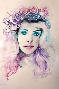 Lana Del Rey poster. Watercolor print. Woman by TatyanaIlieva