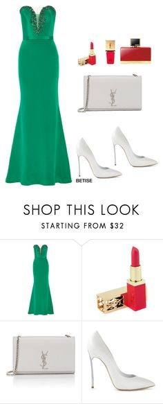 """""""FOR YOU SWEETY......... GO GREEN 👗"""" by betty-sanga ❤ liked on Polyvore featuring Reem Acra, Yves Saint Laurent and Casadei"""