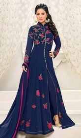 Navy Blue Color Embroidered Georgette Anarkali Suit #georgettanarkalisuits#indiananarkali Upgrade your style with this navy blue color embroidered georgette Anarkali suit. The incredible dress creates a dramatic canvas with superb patch, resham and stones work. USD$ 101(Around £ 70 & Euro 77)