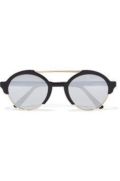 ILLESTEVA Milan III round-frame acetate and gold-tone mirrored sunglasses.   illesteva 17c4c1371a4