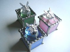 Stained Glass - Stained Glass Box - Tooth Fairy Box - Pink - Blue - Green - Handcrafted - Made in USA on Etsy, $22.00