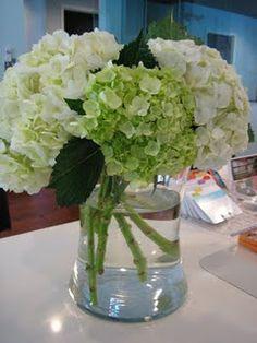 Tall Hydrangea Centerpiece - White & Greens