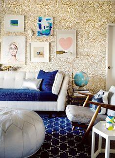 gold, cobalt, white & pattern
