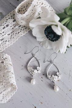Lily of the valley bridal earrings - pearl drop earrings - sterling silver wedding earrings - bridal jewelry, nature jewelry, flower earring