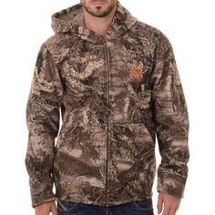 Realtree and Mossy Oak Men's Camo (Green) Heavyweight Sherpa Hoddie Jacket, Size: 3XL