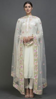 Pearl White Floral Resham And Sequin Embroidered Suit With Dupatta