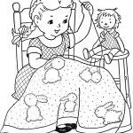 20 different little girl line drawings by Mary Alice Stoddard from a vintage paint/coloring book.