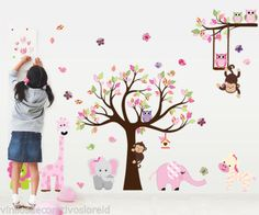 Cute Zoo Animal Wall Sticker with Monkey Playing on Tree Branch with Zebra,lion,elephant Giraffe and Owl Nursery Wall Stickers Jungle Wall Stickers, Wall Stickers Animals, Cheap Wall Stickers, Nursery Wall Stickers, Removable Wall Stickers, Wall Stickers Home Decor, Sticker Vinyl, Nursery Room Decor, Rooms Home Decor