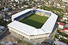 Ilie Oană Stadium (Ploiești, Romania) By Alpine Bau Soccer Stadium, Football Stadiums, European Football, Manchester City, Outdoor Furniture, Outdoor Decor, Architecture, Spaces, Wiener Dogs