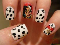 Dalmatians Nail Art, Love the spots, don't like Cruella, lol!!!