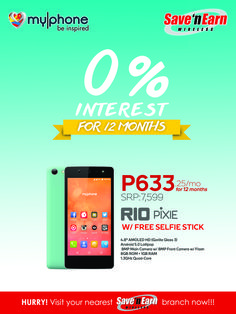 Get the MYPHONE RIO PIXIE with its Android Lollipop OS, Quad-Core processor, 8MP back and front camera with LED flash at only P633.25/month!