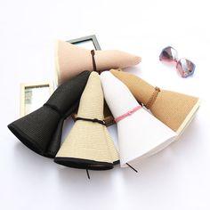 High-quality Women Summer Foldable Solid Panama Style Beach Straw Hat Casual Travel Wide Brim Visor Sun Hat - NewChic