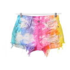LEVIS 501 Colorful TIE DYED Rainbow Denim Cut Off Shorts M ($70.00) ❤ liked on Polyvore