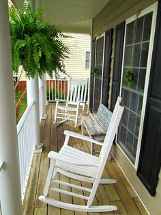 I really want a covered front porch. Even a narrow one like this would be so great!