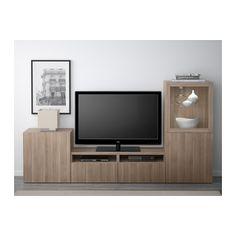 BESTÅ TV storage combination/glass doors - Lappviken/Sindvik gray stained walnut eff clear glass, drawer runner, soft-closing - IKEA