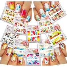 Nail Art Water Slide Tattoo Decals Full-Cover ♥ Flowers / Lakes / Strawberries / Cocktails/ Ice Cream / Autumn Leaves. Multicolor, 10 - pack ♥ For Exciting Nail Art /CIX/ ** Check this awesome product by going to the link at the image. (This is an affiliate link and I receive a commission for the sales)