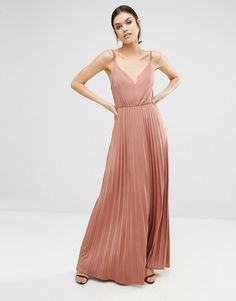 True Decadence Tall   True Decadence Tall Plunge Front Maxi Dress With Pleated Skirt at ASOS