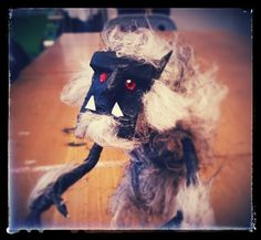 Werewolf made from wire, tissue paper and reused fake fur