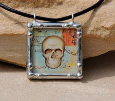 soldered glass skull collage postage pendant by MyArtisticOutlet, $25.00