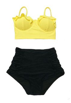 Yellow Midkini Top and Black Ruched Vintage Retro by venderstore