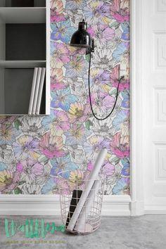 Poppy Pattern Wallpaper, Removable Wallpaper, Poppy Wallpaper, Wall Decal, Floral Wallpaper, Renters Wallpaper, 081 by WallfloraShop on Etsy https://www.etsy.com/listing/241884039/poppy-pattern-wallpaper-removable