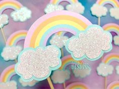 Pastel Rainbow & White Glitter Clouds Cupcake Toppers - Set of 12 - Rainbow Birthday - Cloud 9 Party - frida Glitter Birthday Parties, Rainbow Birthday Party, Unicorn Birthday Parties, Unicorn Party, Birthday Ideas, Glitter Party, Toy Story Cake Toppers, Toy Story Cakes, Cupcake Toppers