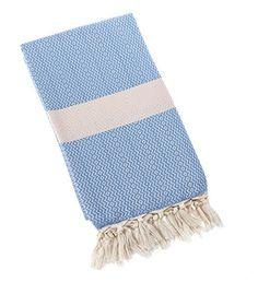Eshma Mardini Natural Turkish Towel Peshtemal - 100% Natural Dyed Cotton - for Beach Spa Bath Swimming Pool Hammam Sauna Yoga Pilates Fitness Gym Picnic Blanket - ( Light Blue ) - $16.99