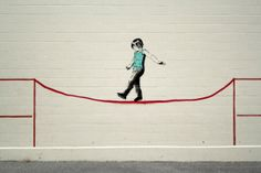 tightrope (Vancouver street artist: iHeart)