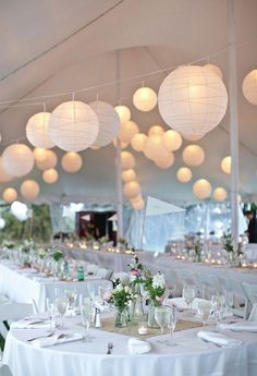 all white tented wedding ideas with Chinese lanterns