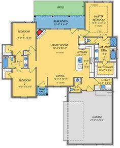Giant Open Floor Plan - 83866JW | 1st Floor Master Suite, CAD Available, Jack & Jill Bath, PDF, Southern, Split Bedrooms | Architectural Designs