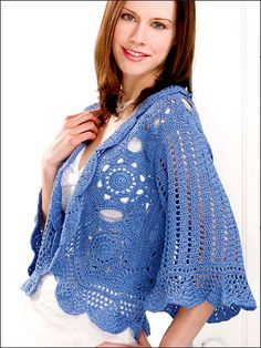The rich elegance of this gorgeous jacket is sure to jazz up almost any outfit.  Includes Women's sizes small to 3X-large. Made with light weight yarn and size B (for small or 3X-large), C (for medium), D (for large), E (for X-large) or F (for 2X-large) hook.