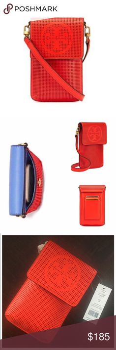 "✨NWT✨ Tory Burch Red Perforated Logo Crossbody Bag NWT! Authentic Tory Burch perforated logo phone crossbody bag in Samba red leather. Crossbody strap has a 23.3"" drop and is removable. Two back exterior cc slots. Bag is 7.17""x4.3"" and fits an iPhone 6 and iPhone 7. Magnetic snap closure. ***No Trades*** Tory Burch Bags Crossbody Bags"