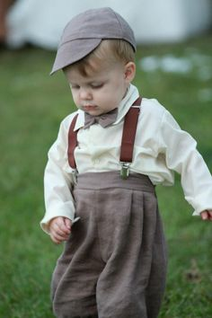Our Daughters 1940's Vintage Theme Wedding: Vintage Perfect...love...love...love him! Little barefoot Ringbearer just happens to be our grandson... all decked out in his knickers,suspenders,bowtie and cap...