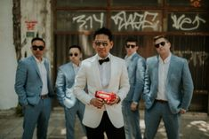 This ultimate Wedchella wedding was out of this world! This super fun couple decided to have the party of their life and tie the knot in Greece! Tie The Knots, Athens, Groomsmen, Real Weddings, Suit Jacket, Handsome, Chic, Couples, Fun