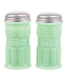 TableCraft Coca-Cola® Jadeite Green salt and pepper shakers Pepsi, Coca Cola, Coke, Spice Shaker, Salt And Pepper Mills, Salt Pepper Shakers, Mason Jars, Stuffed Peppers