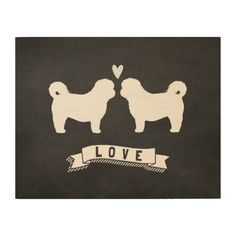 Shih Tzus Love - Dog Silhouettes with Heart Wood Print
