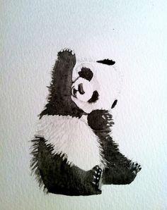 Tattoo aquarela panda feminina
