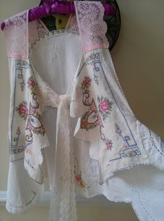 Shabby Chic Vest with Vintage Lace & Linens Size by NoelleVandiver, $24.50