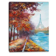 Eiffel Tower View in Fall Landscape Painting Print on Wrapped Canvas