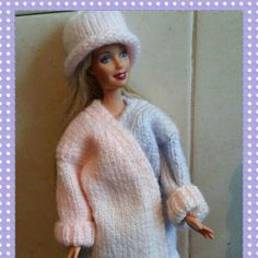 New design barbie oversized cardigan and matching hat